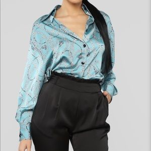 Blue Chain Inspired Blouse Button Up too